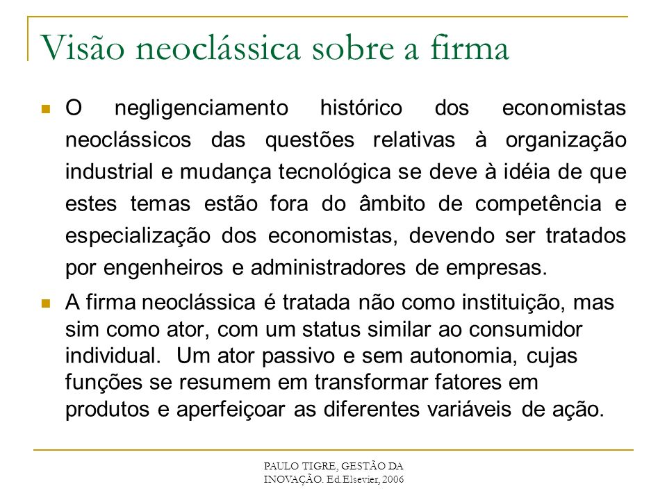 Visão neoclássica sobre a firma