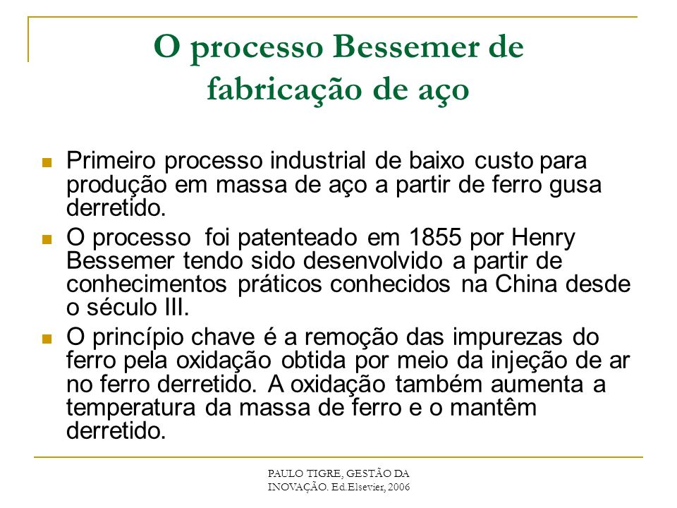O processo Bessemer de fabricação de aço