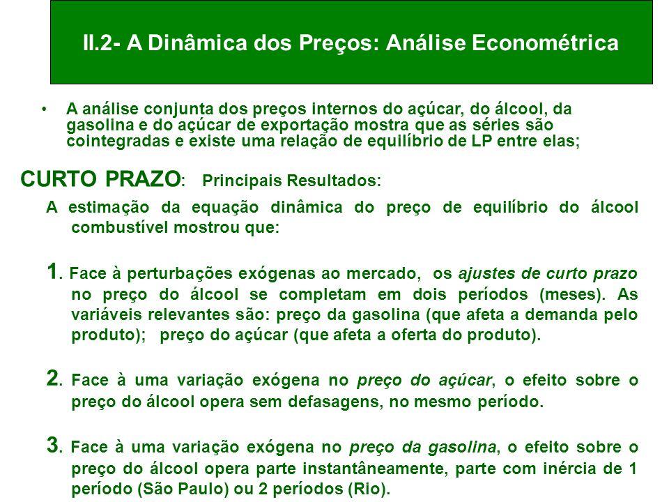 II.2- A Dinâmica dos Preços: Análise Econométrica