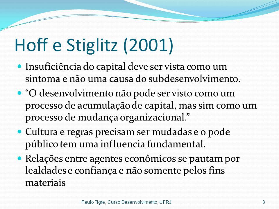 Hoff e Stiglitz (2001) Insuficiência do capital deve ser vista como um sintoma e não uma causa do subdesenvolvimento.