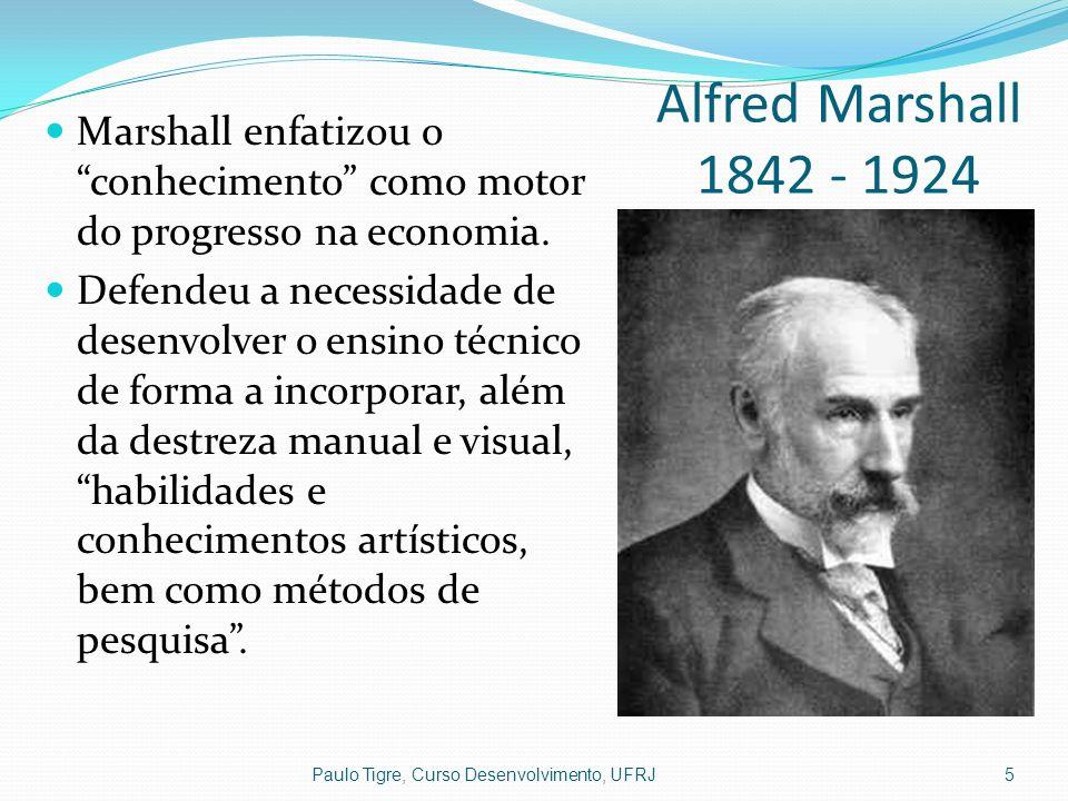 Alfred Marshall 1842 - 1924 Marshall enfatizou o conhecimento como motor do progresso na economia.