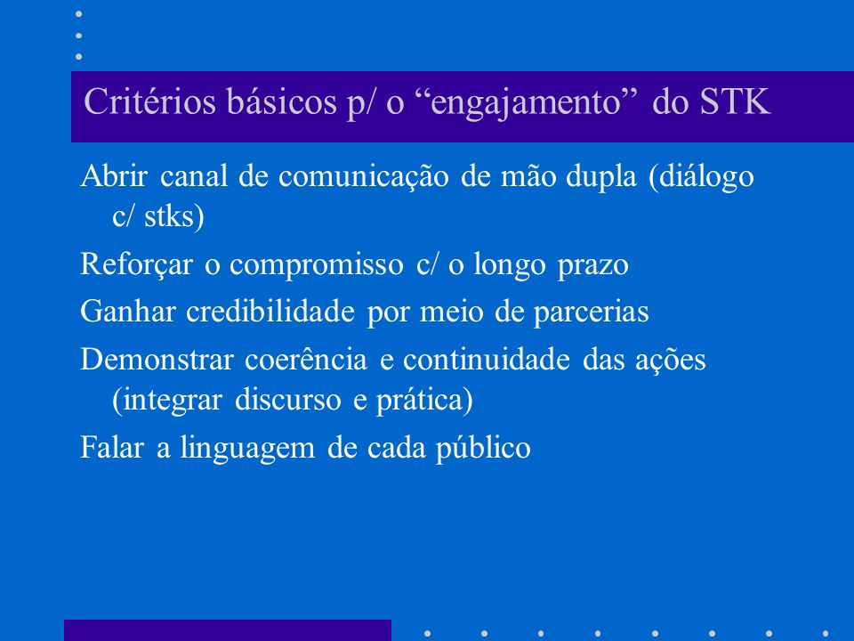 Critérios básicos p/ o engajamento do STK