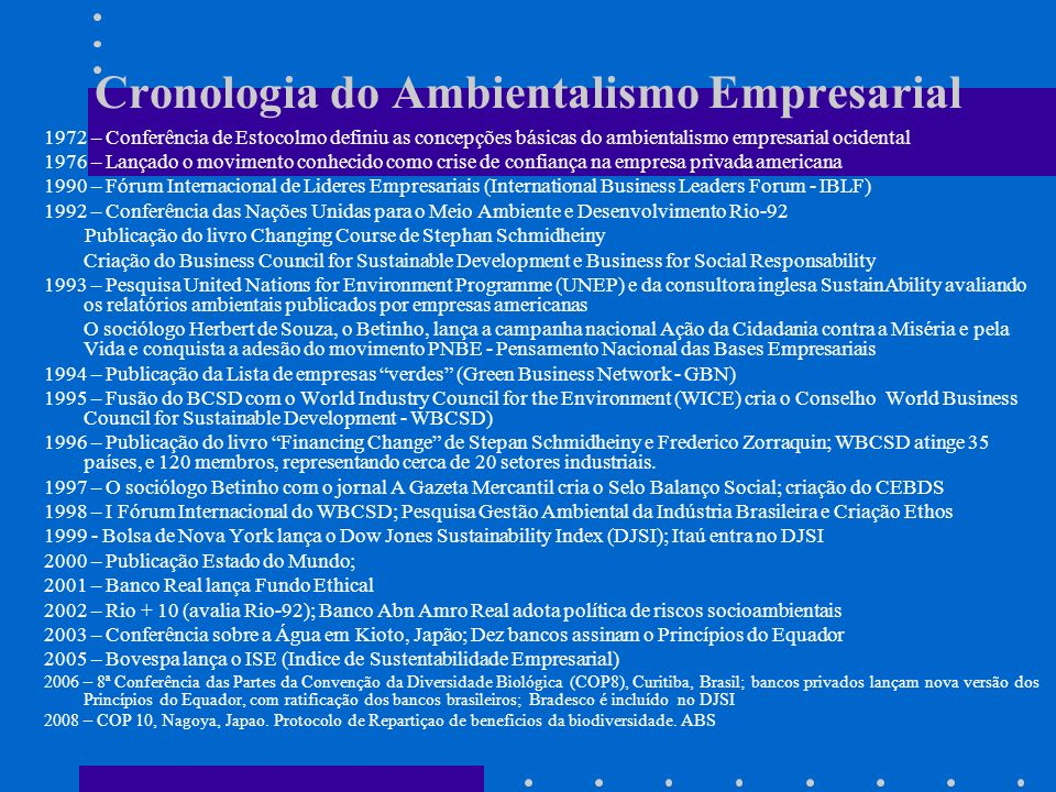 Cronologia do Ambientalismo Empresarial