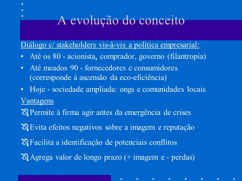 A evolução do conceito Diálogo c/ stakeholders vis-à-vis a política empresarial: Até os 80 - acionista, comprador, governo (filantropia)