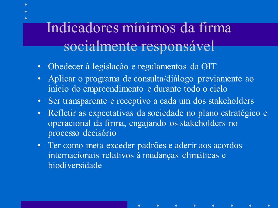 Indicadores mínimos da firma socialmente responsável