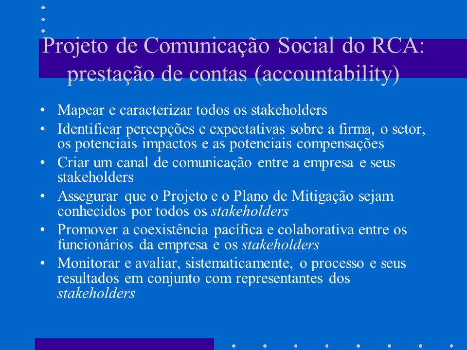 Projeto de Comunicação Social do RCA: prestação de contas (accountability)