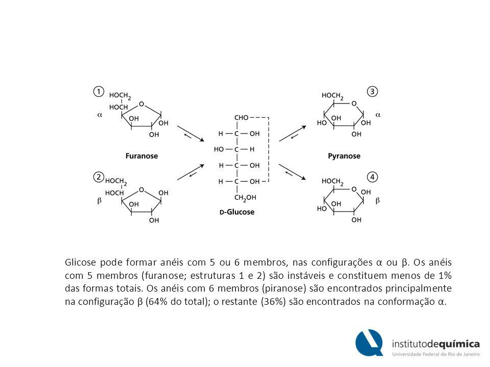 Glicose pode formar anéis com 5 ou 6 membros, nas configurações α ou β
