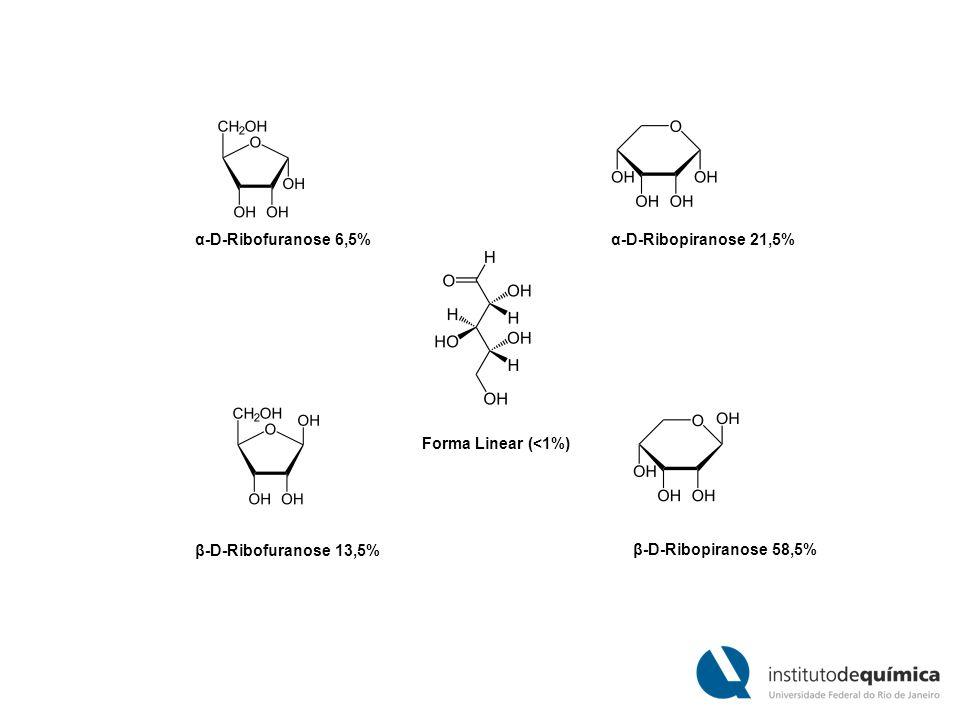 α-D-Ribofuranose 6,5% α-D-Ribopiranose 21,5% Forma Linear (<1%) β-D-Ribofuranose 13,5% β-D-Ribopiranose 58,5%