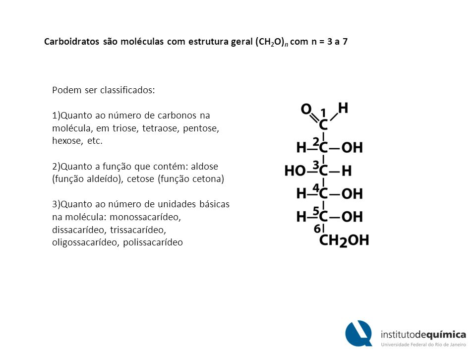 Carboidratos são moléculas com estrutura geral (CH2O)n com n = 3 a 7