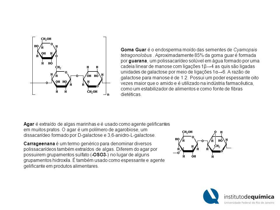 Goma Guar é o endosperma moído das sementes de Cyamopsis tetragonolobus . Aproximadamente 85% da goma guar é formada por guarana, um polissacarídeo solúvel em água formado por uma cadeia linear de manose com ligações 1β→4 as quis são ligadas unidades de galactose por meio de ligações 1α→6. A razão de galactose para manose é de 1:2. Possui um poder espessante oito vezes maior que o amido e é utilizado na indústria farmacêutica, como um estabilizador de alimentos e como fonte de fibras dietéticas.