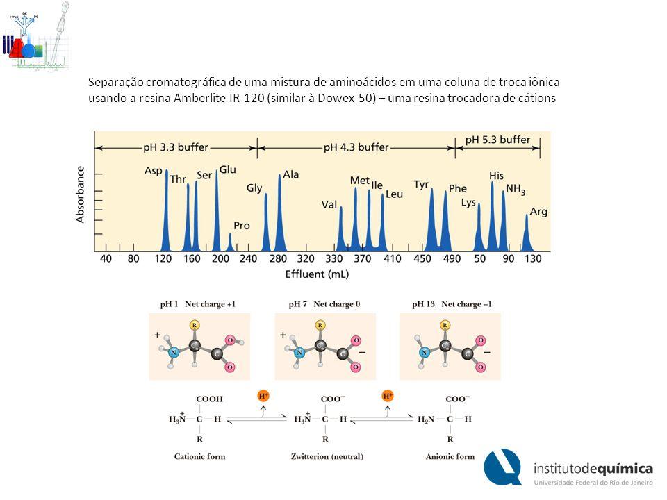 Separação cromatográfica de uma mistura de aminoácidos em uma coluna de troca iônica usando a resina Amberlite IR-120 (similar à Dowex-50) – uma resina trocadora de cátions