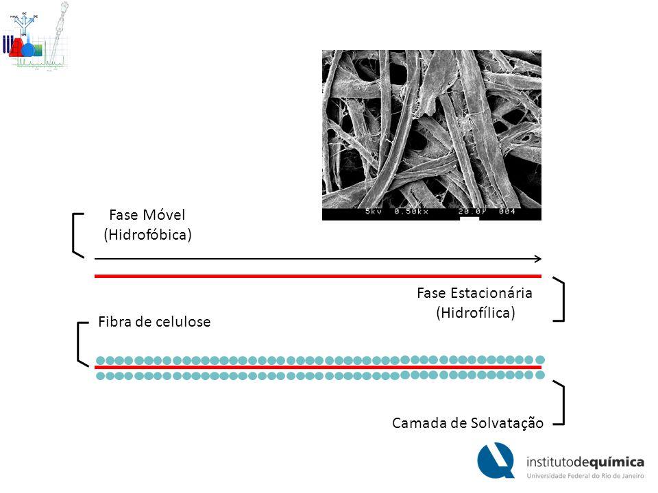 Fase Móvel (Hidrofóbica) Fase Estacionária (Hidrofílica) Fibra de celulose Camada de Solvatação