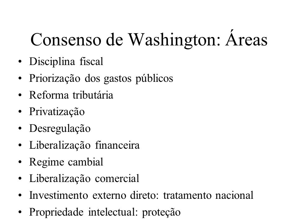 Consenso de Washington: Áreas