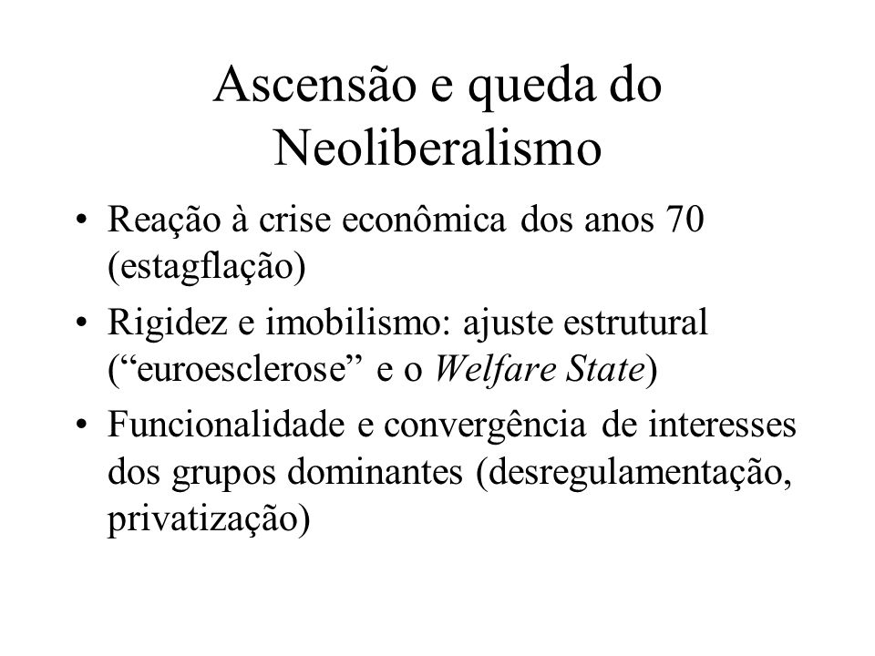 Ascensão e queda do Neoliberalismo