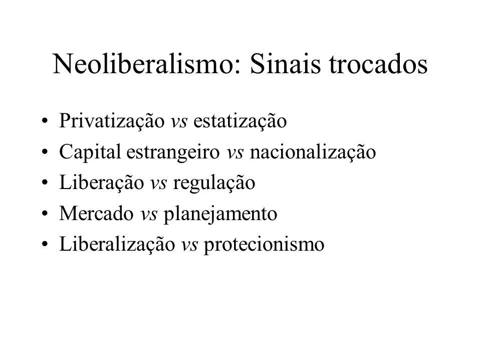 Neoliberalismo: Sinais trocados