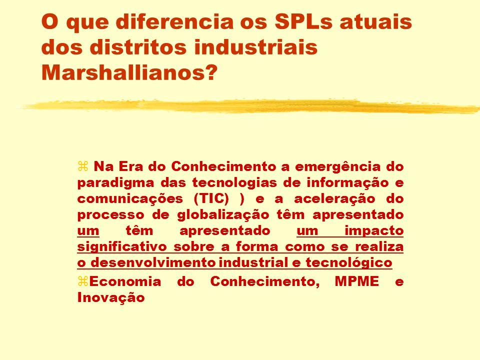 O que diferencia os SPLs atuais dos distritos industriais Marshallianos