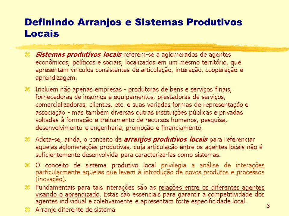 Definindo Arranjos e Sistemas Produtivos Locais