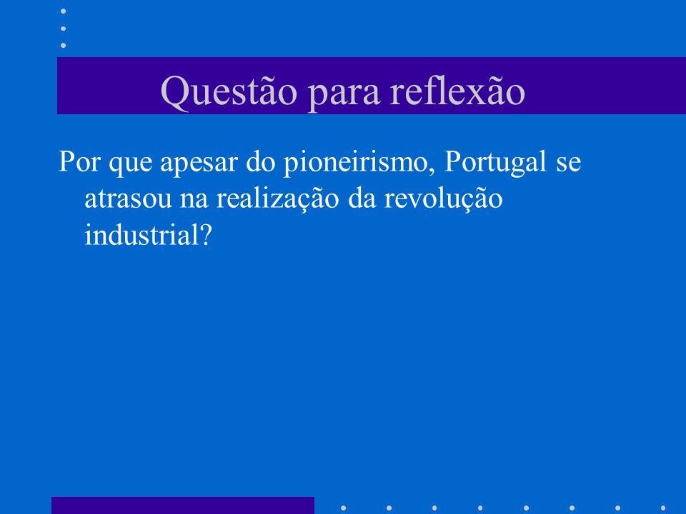 Questão para reflexão Por que apesar do pioneirismo, Portugal se atrasou na realização da revolução industrial