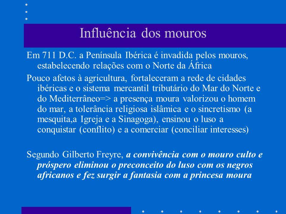 Influência dos mouros Em 711 D.C. a Península Ibérica é invadida pelos mouros, estabelecendo relações com o Norte da África.