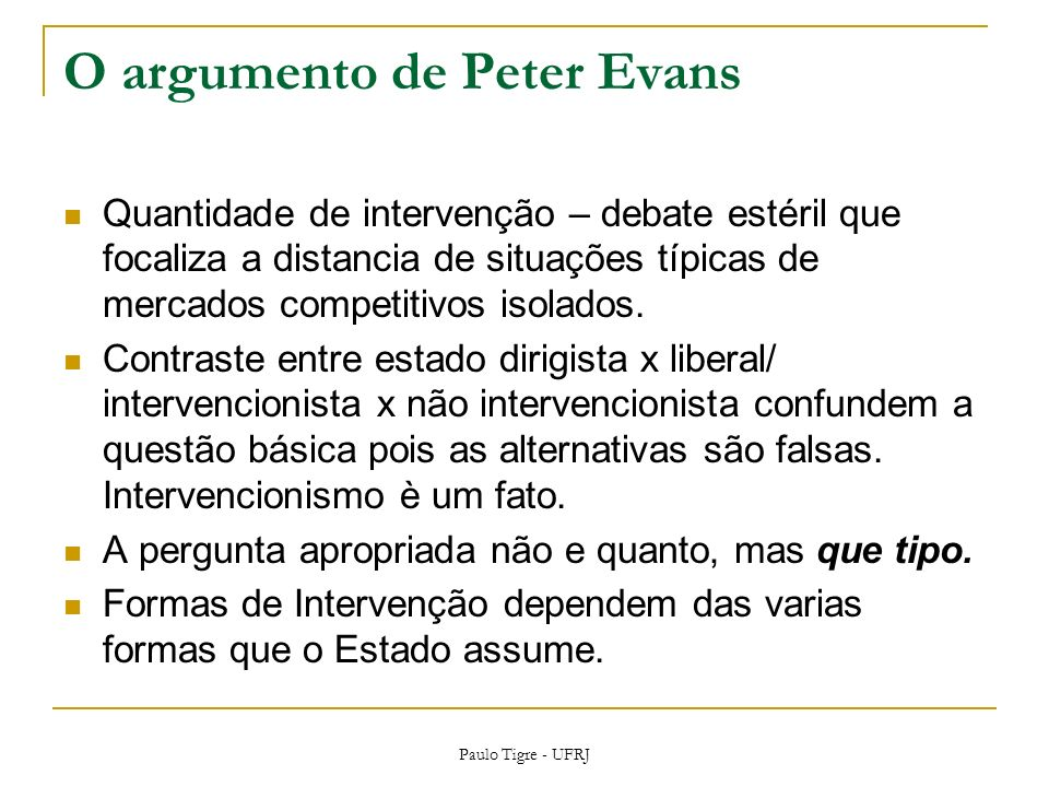 O argumento de Peter Evans