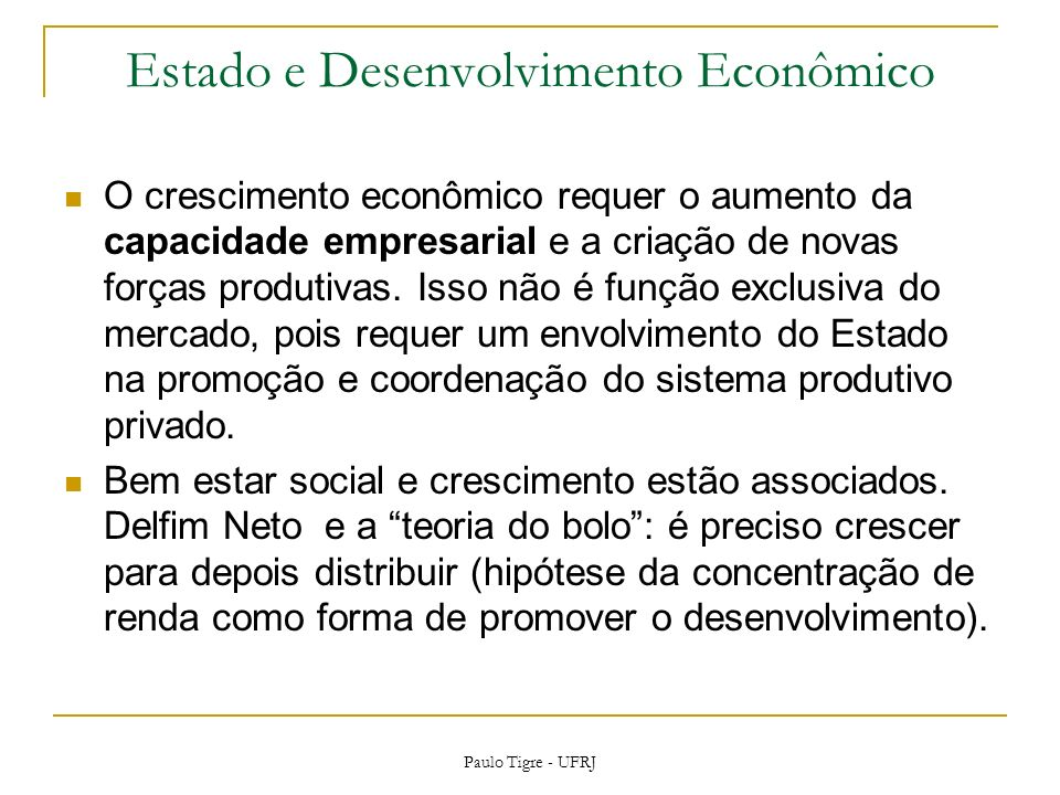 Estado e Desenvolvimento Econômico