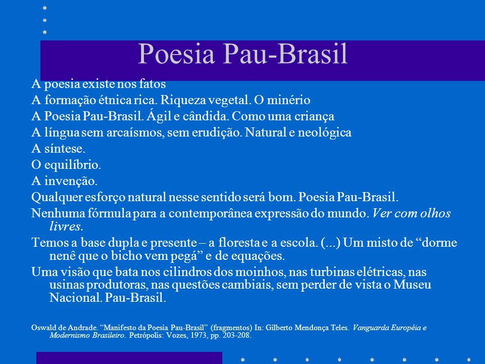 Poesia Pau-Brasil A poesia existe nos fatos