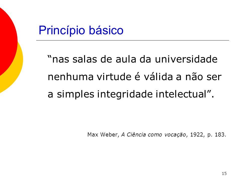 Princípio básico nas salas de aula da universidade nenhuma virtude é válida a não ser a simples integridade intelectual .