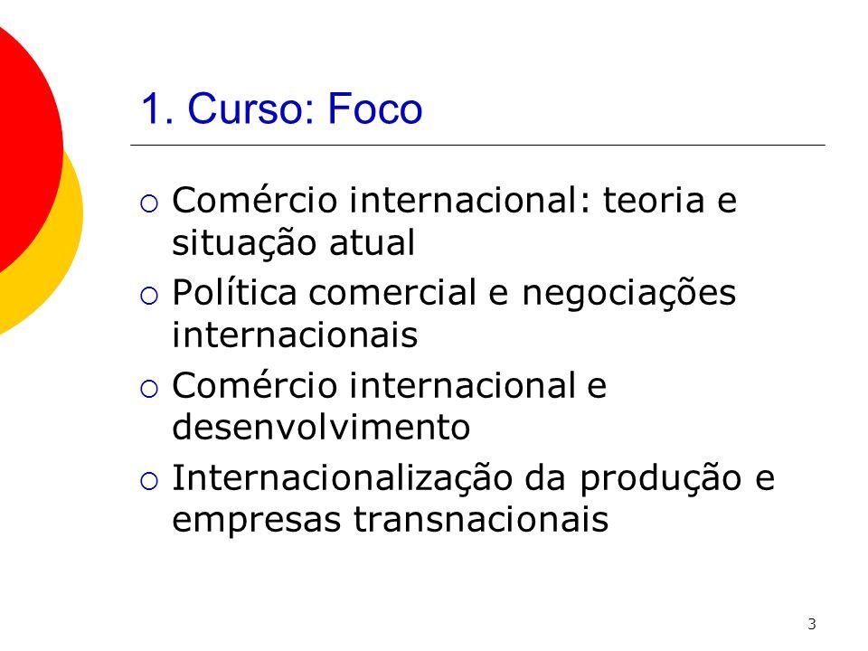 1. Curso: Foco Comércio internacional: teoria e situação atual