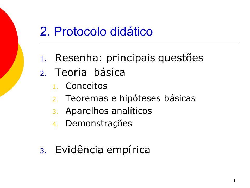 2. Protocolo didático Resenha: principais questões Teoria básica