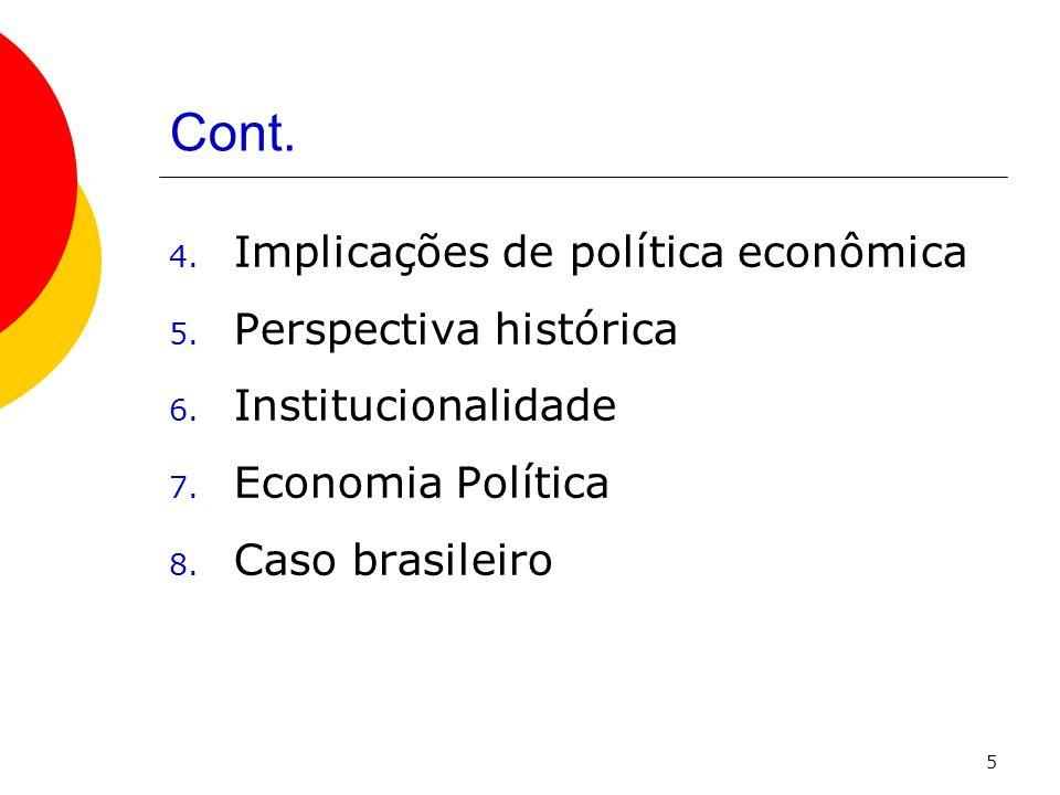 Cont. Implicações de política econômica Perspectiva histórica