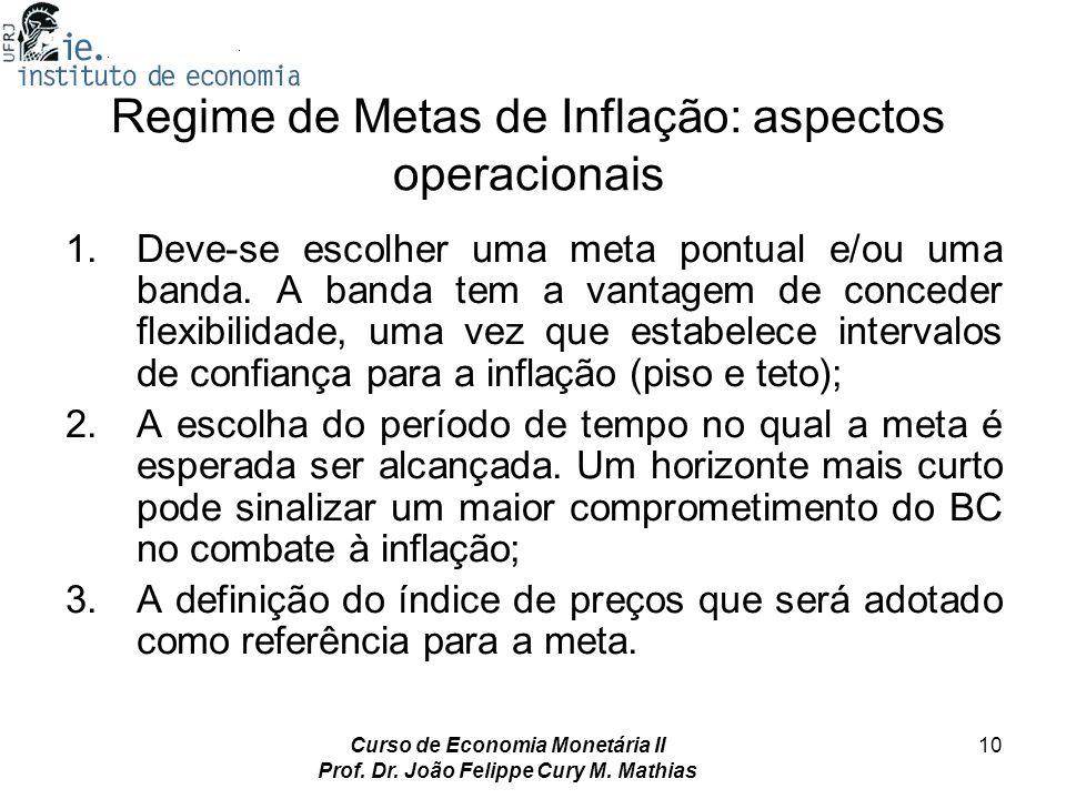 Regime de Metas de Inflação: aspectos operacionais