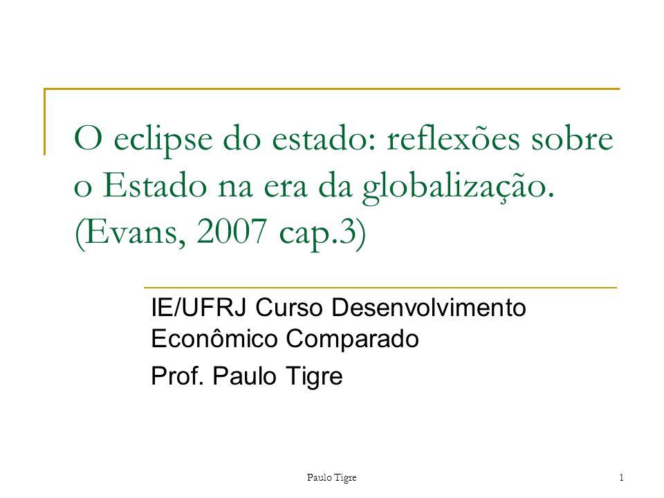 IE/UFRJ Curso Desenvolvimento Econômico Comparado Prof. Paulo Tigre