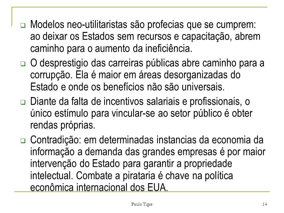 Modelos neo-utilitaristas são profecias que se cumprem: ao deixar os Estados sem recursos e capacitação, abrem caminho para o aumento da ineficiência.