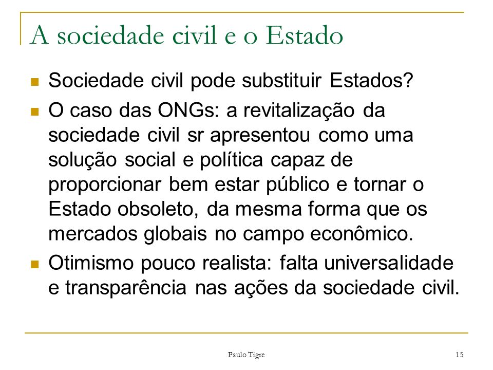 A sociedade civil e o Estado