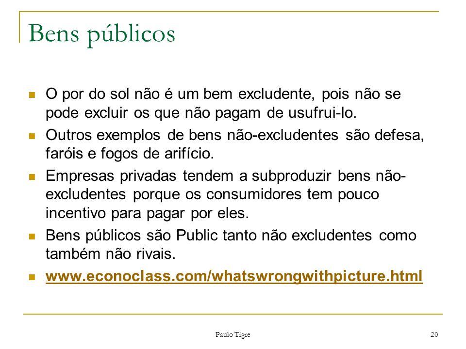 Bens públicos O por do sol não é um bem excludente, pois não se pode excluir os que não pagam de usufrui-lo.