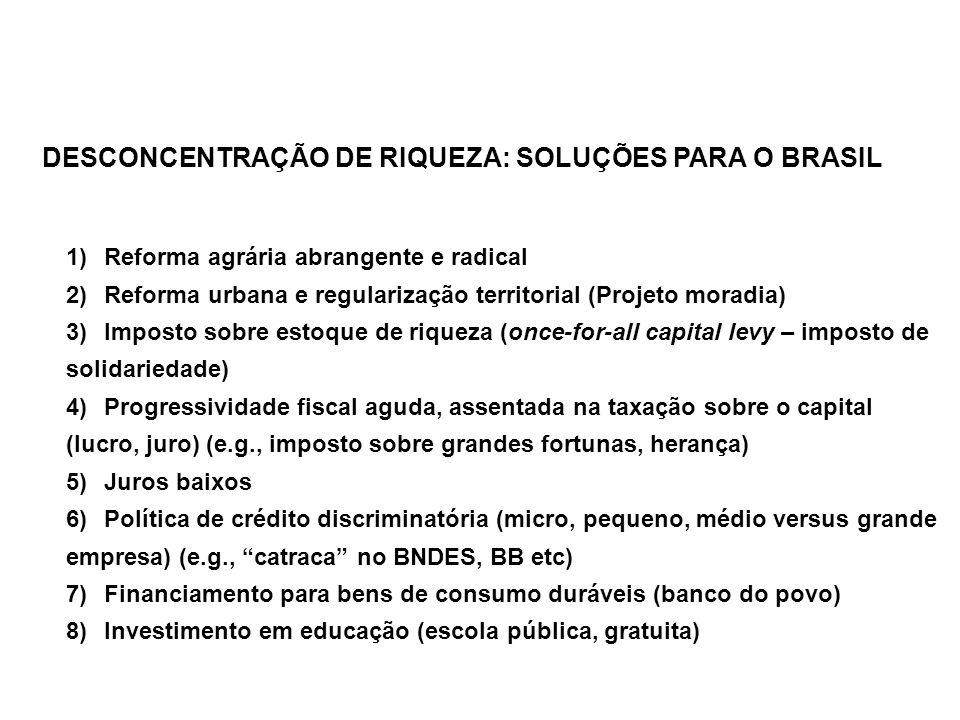 DESCONCENTRAÇÃO DE RIQUEZA: SOLUÇÕES PARA O BRASIL