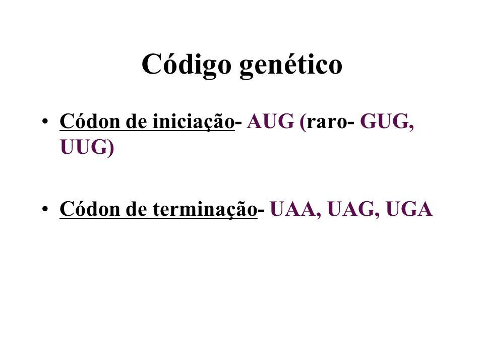 Código genético Códon de iniciação- AUG (raro- GUG, UUG)