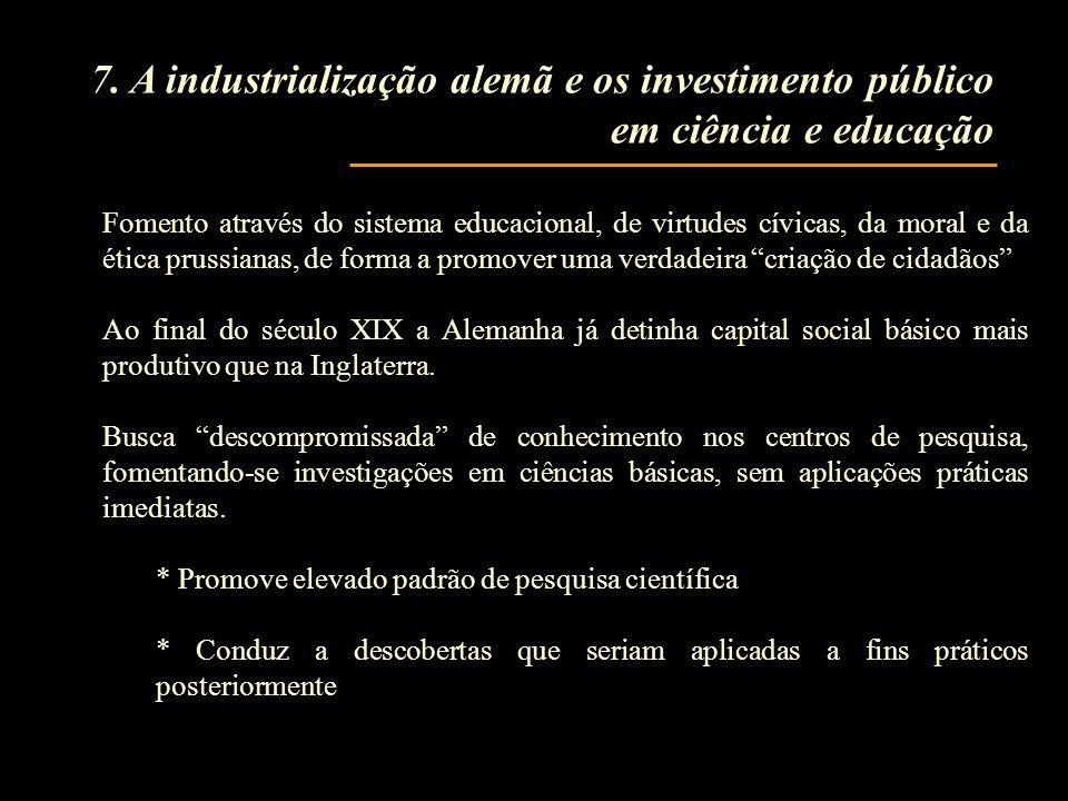 7. A industrialização alemã e os investimento público em ciência e educação