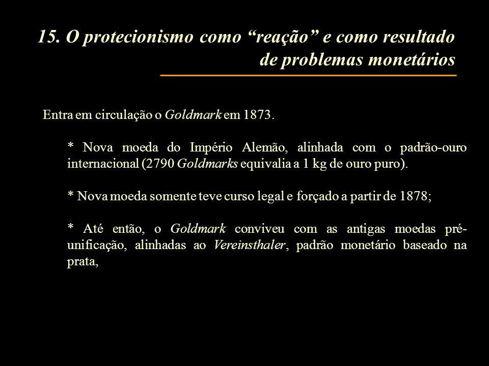 15. O protecionismo como reação e como resultado de problemas monetários