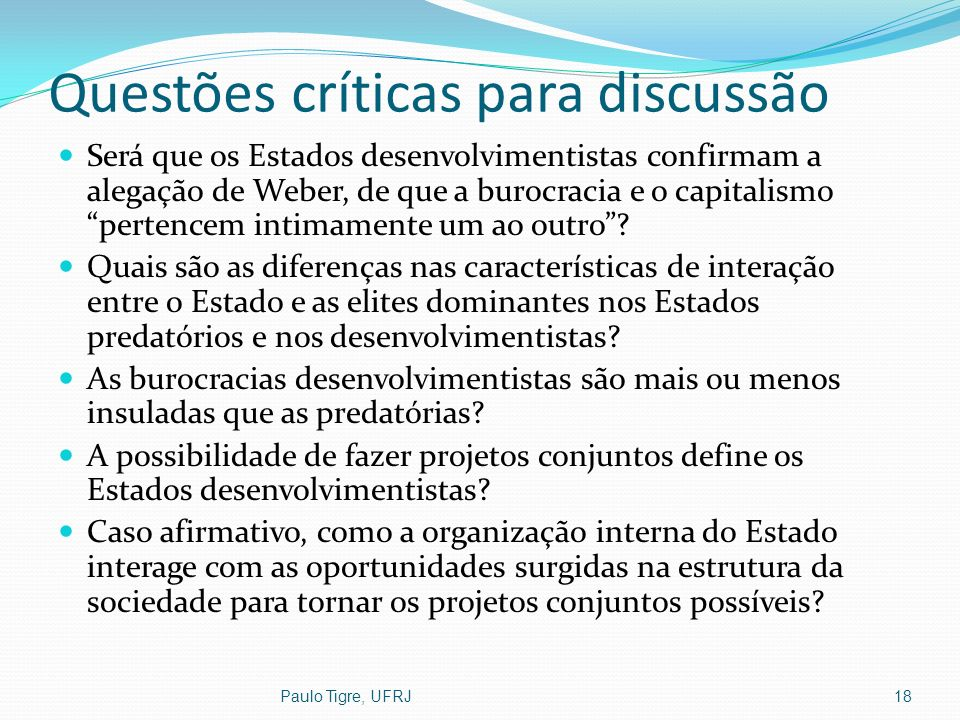 Questões críticas para discussão