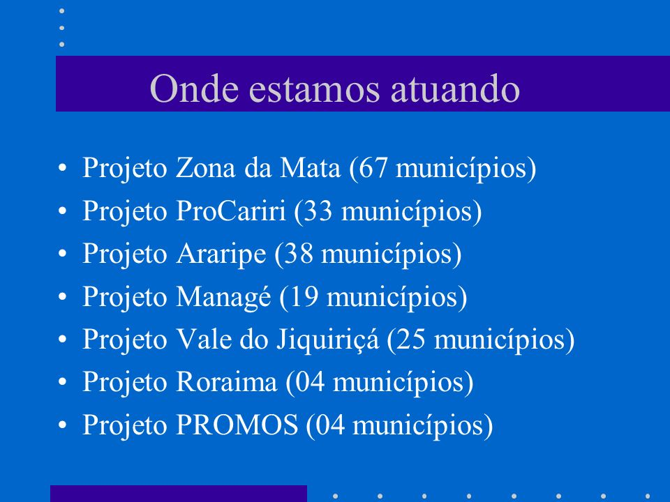 Onde estamos atuando Projeto Zona da Mata (67 municípios)