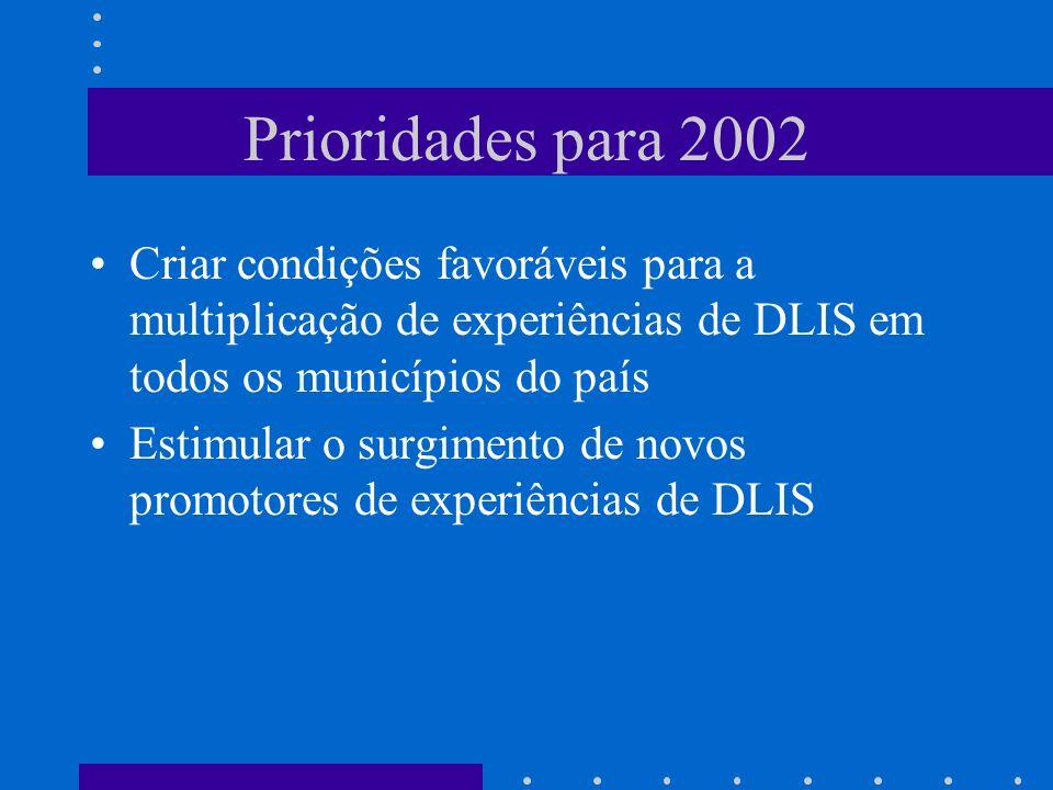 Prioridades para 2002 Criar condições favoráveis para a multiplicação de experiências de DLIS em todos os municípios do país.