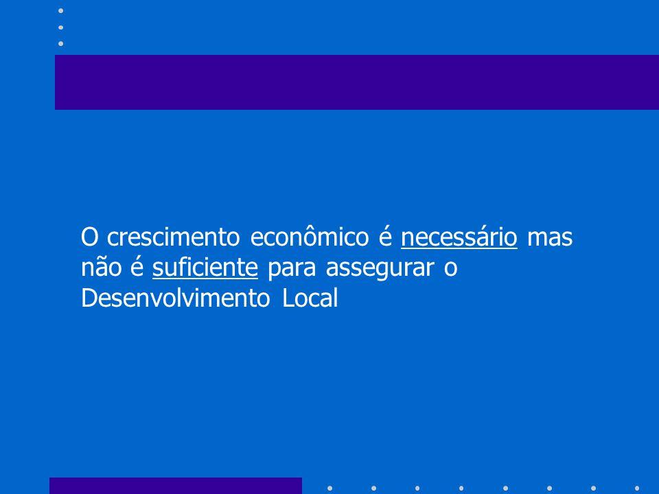 O crescimento econômico é necessário mas não é suficiente para assegurar o Desenvolvimento Local