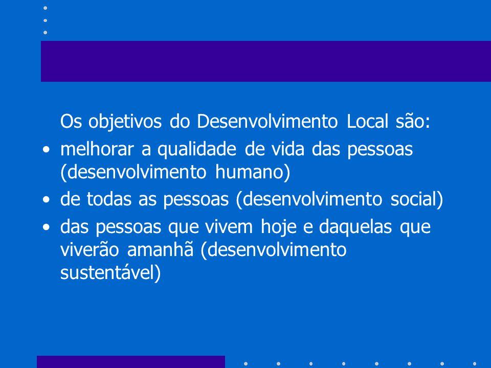 Os objetivos do Desenvolvimento Local são:
