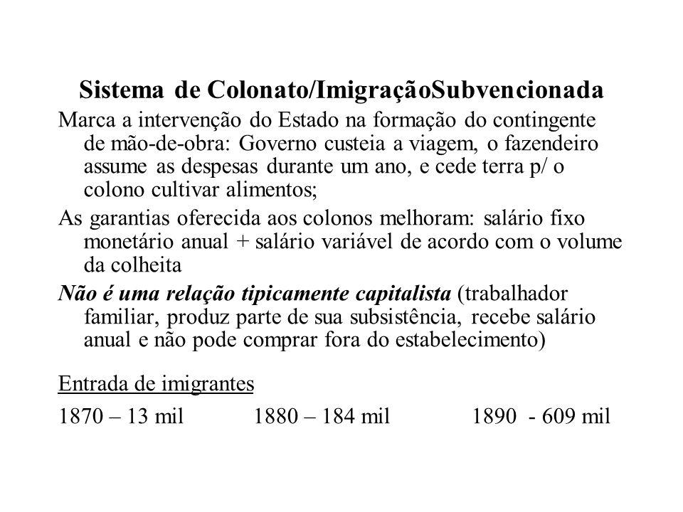 Sistema de Colonato/ImigraçãoSubvencionada