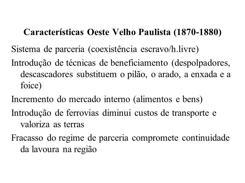 Características Oeste Velho Paulista (1870-1880)