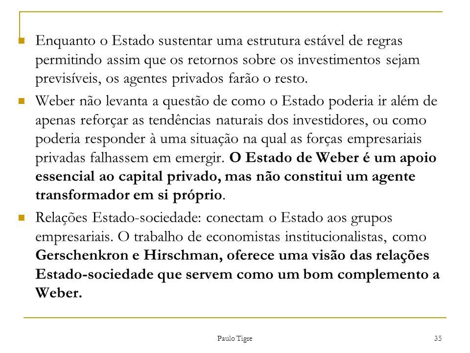 Enquanto o Estado sustentar uma estrutura estável de regras permitindo assim que os retornos sobre os investimentos sejam previsíveis, os agentes privados farão o resto.