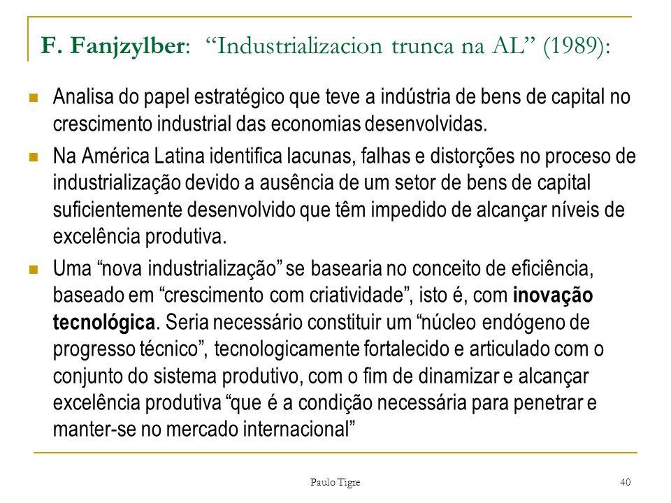 F. Fanjzylber: Industrializacion trunca na AL (1989):