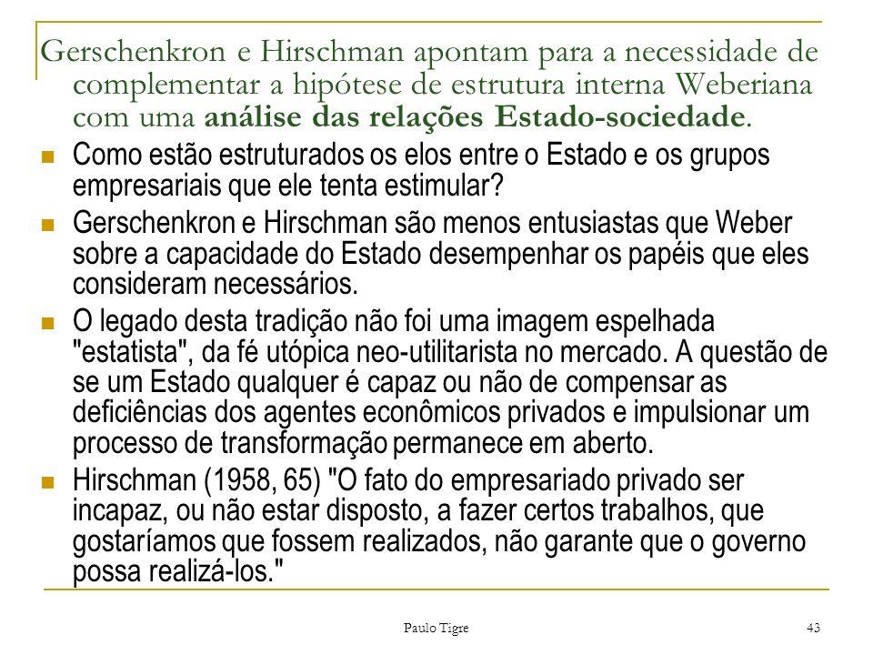Gerschenkron e Hirschman apontam para a necessidade de complementar a hipótese de estrutura interna Weberiana com uma análise das relações Estado-sociedade.