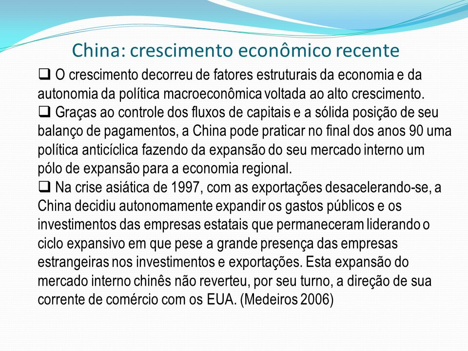 China: crescimento econômico recente